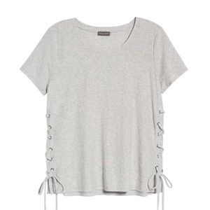 Vince Camuto | Gray Heather Side Lace-up Tee